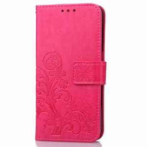 Lucky Clover Holster Leaf Card Lanyard Pu Leather for Huawei P9 Lite -