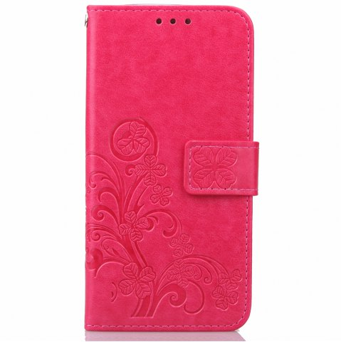 Store Lucky Clover Holster Leaf Card Lanyard Pu Leather for Huawei P9 Lite