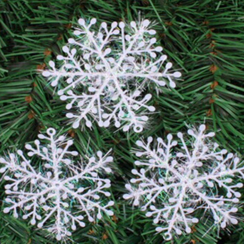 XM1 12PCS Christmas Decoration White Snowflake Ornaments 8.5CMHOME<br><br>Color: WHITE; Material: Plastic; Usage: Christmas; Package Quantity: 12 x Snowflake Ornaments;