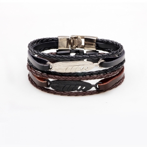 Fashion Alloy Feather Charm Braided Leather Cuff Wrap Bracelet -
