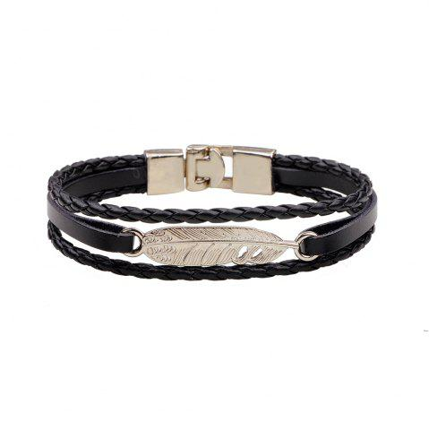 Best Fashion Alloy Feather Charm Braided Leather Cuff Wrap Bracelet