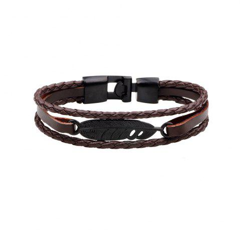 Cheap Fashion Alloy Feather Charm Braided Leather Cuff Wrap Bracelet BROWN