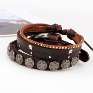 Hot Sale Adjustable Alloy Rivet Brown Leather Cuff Stacking Bracelet -