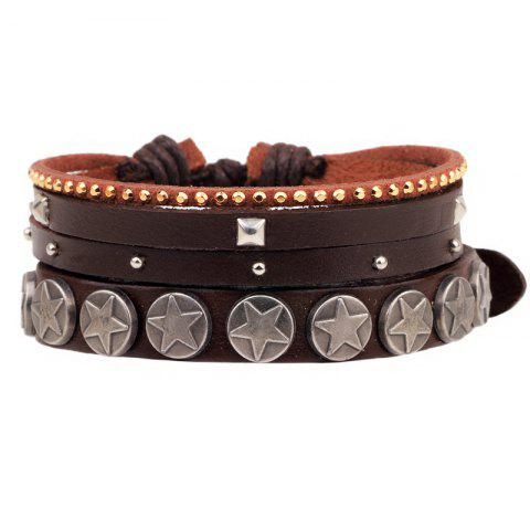 Hot Hot Sale Adjustable Alloy Rivet Brown Leather Cuff Stacking Bracelet