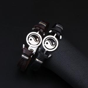 Mens Yin Yang Genuine Leather Stainless Steel Charm Bracelet -