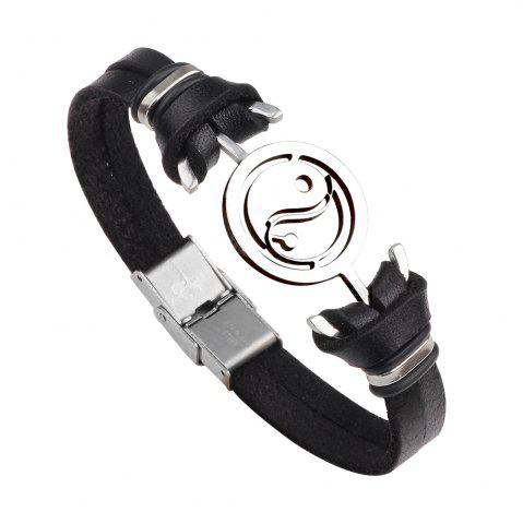 Store Mens Yin Yang Genuine Leather Stainless Steel Charm Bracelet - BLACK  Mobile