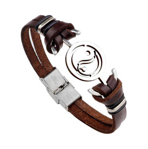 Buy Mens Yin Yang Genuine Leather Stainless Steel Charm Bracelet BROWN