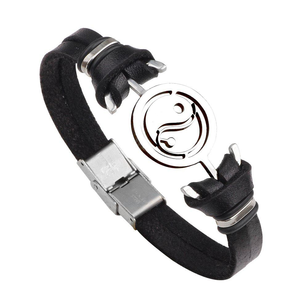 Mens Yin Yang Genuine Leather Stainless Steel Charm BraceletJEWELRY<br><br>Color: BLACK; Item No.: QNW2333; Material: Leather , Stainless Steel; Color: Black , Brown;