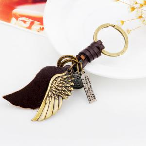 Personalized Bronze Tone Angel Wing Shaped Pendant Keychain - BRONZED