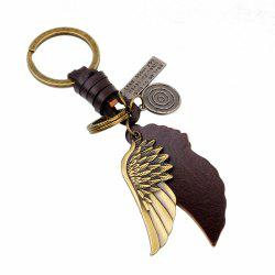 Personalized Bronze Tone Angel Wing Shaped Pendant Keychain -