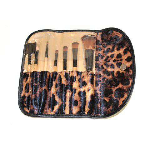 Fashion Todo 7PCS Pro Makeup Brush with Leopard Print Carry Bag WOOD