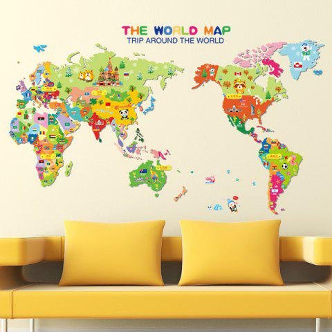 Latest Colorful World Map Wall Sticker Decal Vinyl Art Kids Room Office