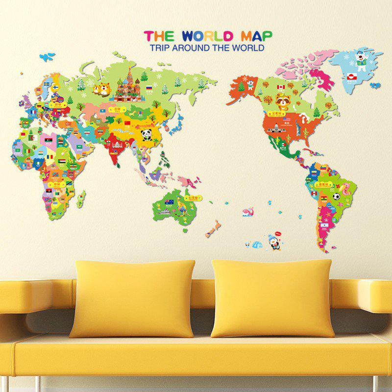 Colorful World Map Wall Sticker Decal Vinyl Art Kids Room OfficeHOME<br><br>Size: 50 X 70CM; Color: MIXED COLOR; Brand: DSU; Type: Plane Wall Sticker; Subjects: Cartoon,Leisure,Letter; Color Scheme: Others; Function: Decorative Wall Sticker; Material: Self-adhesive Plastic; Suitable Space: Boys Room,Game Room,Girls Room,Kids Room,Study Room / Office; Layout Size (L x W): 50 x 70cm; Effect Size (L x W): 99 x 59cm; Quantity: 1;