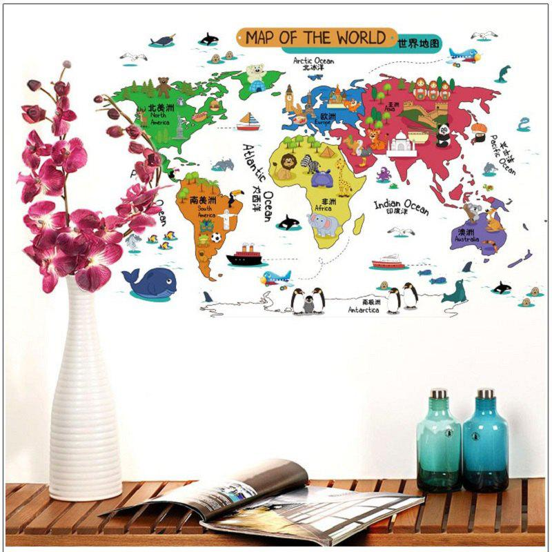 Cartoon Map of The Word Wall Stickers Removable StickersHOME<br><br>Size: 90 X 60CM; Color: MIX COLOR; Brand: DSU; Type: Plane Wall Sticker; Subjects: Cartoon,Digital,Fashion,Letter; Color Scheme: Others; Function: Decorative Wall Sticker; Material: Self-adhesive Plastic; Suitable Space: Bedroom,Game Room,Girls Room,Kids Room,Living Room; Layout Size (L x W): 90 x 60cm; Effect Size (L x W): 92 x 60cm; Quantity: 1;
