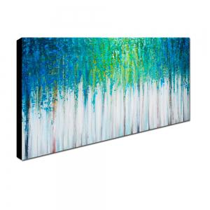 Yhhp Hand Painted Abstract Blue Forest Decoration Canvas Oil Painting -