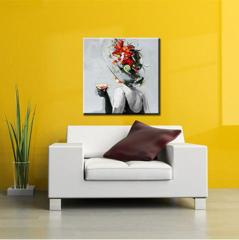 Yhhp Hand Painted Wear A Hat Woman Decoration Canvas Oil Painting