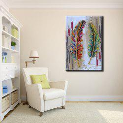 YHHP Hand Painted Abstract Feather Decoration Canvas Oil Painting -