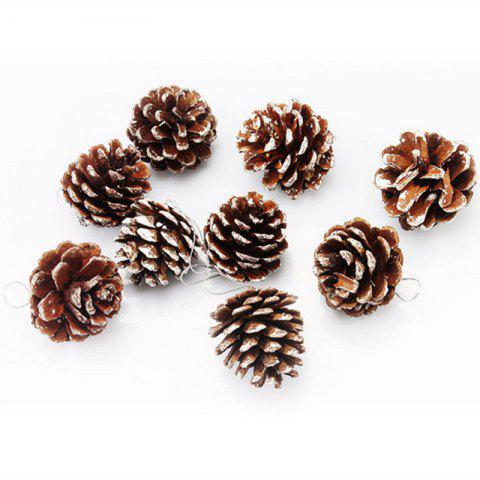 Sale XM1 9PCS Natural Pine Cone Christmas Trees Decoration 5CM - WHITE  Mobile
