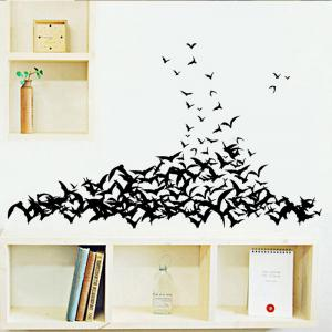 Mcyh Wl94 Black Bats Living Room Bedroom Background Sticker - BLACK 58*60CM