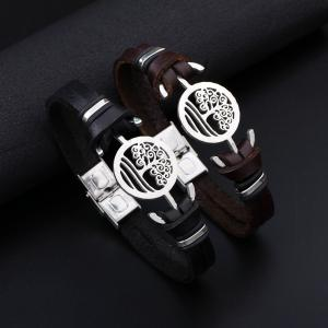 Handmade Stainless Steel Tree of Life Charm Leather Cuff Bracelet - BLACK