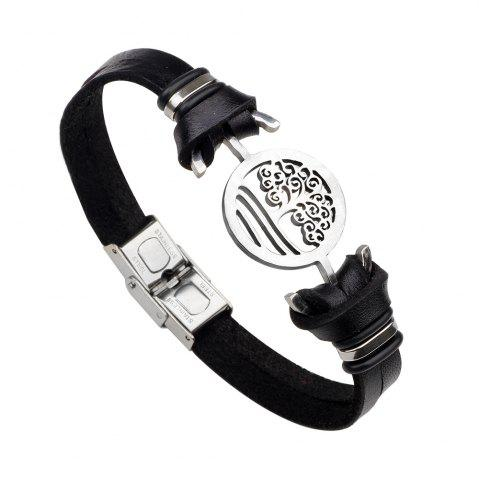 Fashion Handmade Stainless Steel Tree of Life Charm Leather Cuff Bracelet BLACK