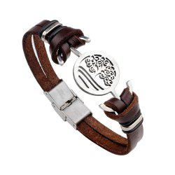 Handmade Stainless Steel Tree of Life Charm Leather Cuff Bracelet -