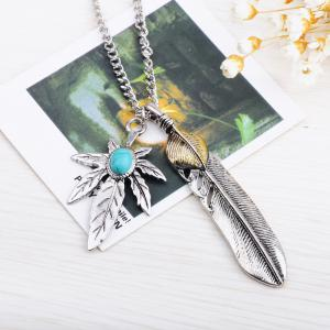 Antique Turquoise Stone Maple Leaf Feather Pendant Necklace -