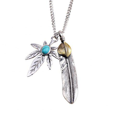 Cheap Antique Turquoise Stone Maple Leaf Feather Pendant Necklace