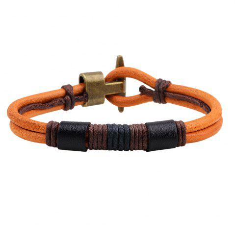 Shops Vintage Hook Clasp Design Wire Wrap Leather Wristband Bracelet ORANGE