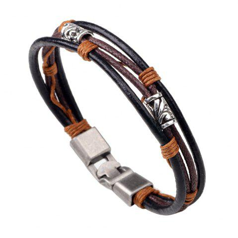 Sale New Arrival Alloy Bead Leather Black Rope Bracelet for Men