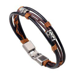 New Arrival Alloy Bead Leather Black Rope Bracelet for Men -