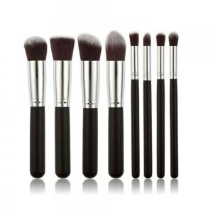 Todo 8PCS Pro Face Makeup Brush Set Soft Brush Wood Handle - BLACK SILVER