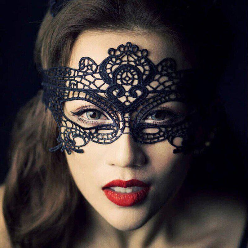 Yeduo Black Sexy Lady Lace Mask for Masquerade Halloween Party Fancy Dress CostumeHOME<br><br>Color: BLACK; Material: Lace; For: All; Usage: Halloween,Party,Performance,Wedding;