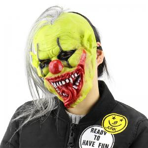 Yeduo Halloween Scary Mask with Wig Hair Green Face Clown Latex Lightweight for Halloween Masquerade Costume Party Bar - MULTICOLOR