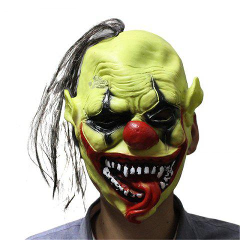 Fancy Yeduo Halloween Scary Mask with Wig Hair Green Face Clown Latex Lightweight for Halloween Masquerade Costume Party Bar MULTICOLOR