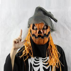 Yeduo Halloween Mask Pumpkin Scarecrow Creepy Latex Realistic Crazy Rubber Super Creepy Party Halloween Costume Mask -