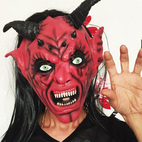Sale Yeduo Devil Inferno Satan Mask Horror Halloween Novelty Red Face Adult Size Party Head Long Hair for Women Men - COLORMIX  Mobile