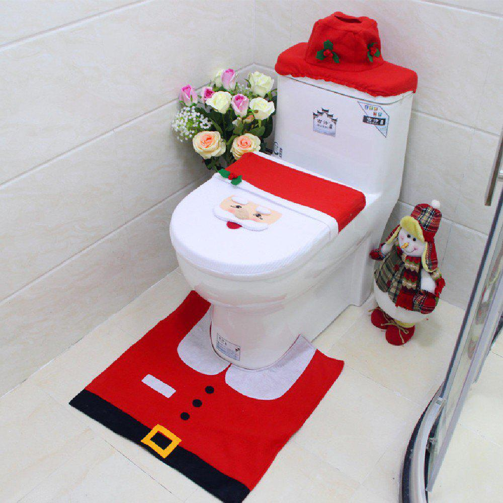Yeduo New Year Best Gift Happy Christmas Santa Toilet Seat Cover Rug Bathroom DecorationsHOME<br><br>Color: COLORMIX; Material: Nonwoven; For: All; Usage: Christmas,New Year;