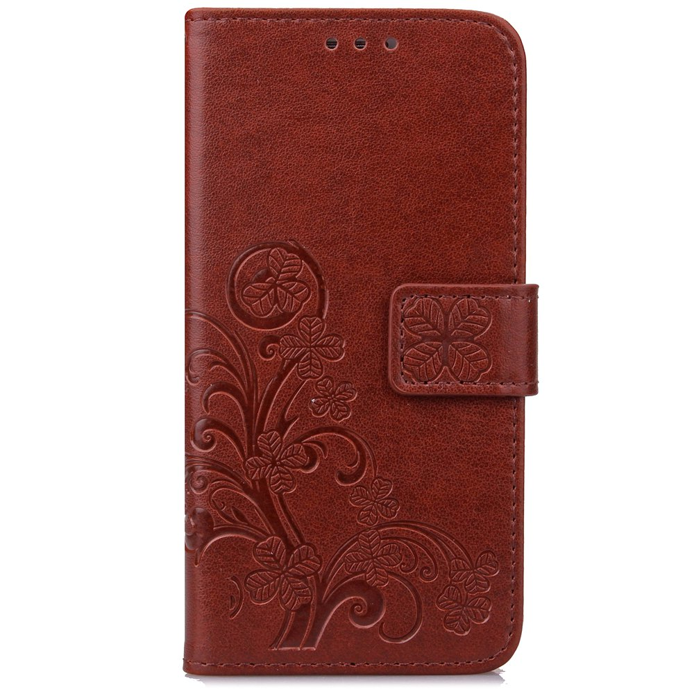 Outfit Lucky Clover Holster Leaf Card Lanyard Pu Leather for Huawei Y5 Ii