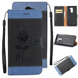 Wkae Dual Color Matching Protective PU Leather FliPU Stand Case Cover with Card Cash Slots And Lanyard for Huawei Hornor 8 -