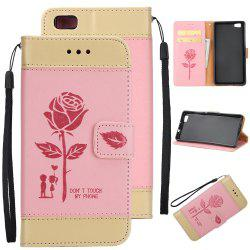Wkae Mixed Colors Rose Flower Frosted Premium Pu Leather Wallet Stand case Cover with Card Slots for Huawei P8 Lite -