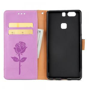 Wkae Mixed Colors Rose Flower Frosted Premium Pu Leather Wallet Stand  Case Cover with Card Slots for Huawei P9 -