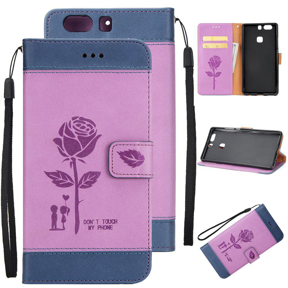 Outfit Wkae Mixed Colors Rose Flower Frosted Premium Pu Leather Wallet Stand  Case Cover with Card Slots for Huawei P9