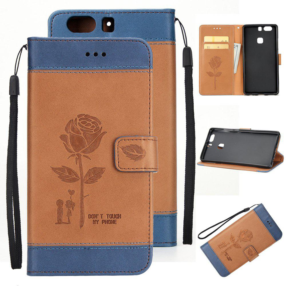 Affordable Wkae Mixed Colors Rose Flower Frosted Premium Pu Leather Wallet Stand  Case Cover with Card Slots for Huawei P9
