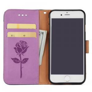 Wkae Mixed Colors Rose Flower Frosted Premium Pu Leather Wallet Stand Case Cover with Card Slots for iPhone 5 -