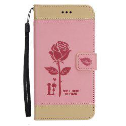 Wkae Mixed Colors Rose Flower Frosted Premium Pu Leather Wallet Stand Case Cover with Card Slots for iPhone 7 Plus -