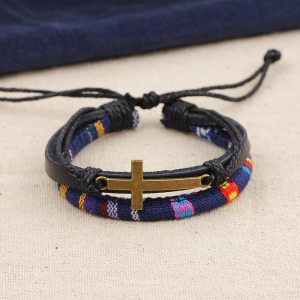 New Alloy Cross Charm Leather Adjustable Rope Wrap Bracelet - BLACK