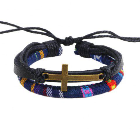 Store New Alloy Cross Charm Leather Adjustable Rope Wrap Bracelet - BLACK  Mobile