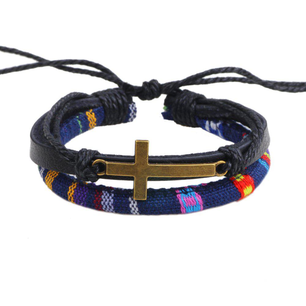 Store New Alloy Cross Charm Leather Adjustable Rope Wrap Bracelet