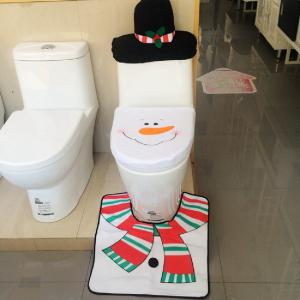 Yeduo 1 Sets Christmas Decorations Xmas Toilet Seat Cover Rug Washroom SSnowman Decorative  Lids Covers -